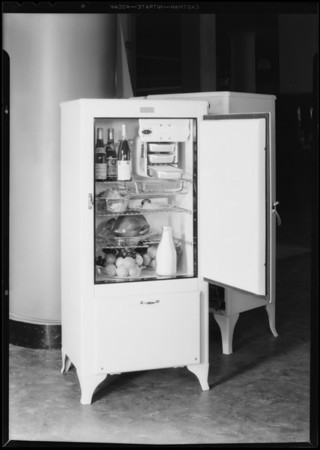 Refrigerator and food, May Co., Southern California, 1931