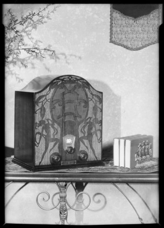Table model with carving on front, Plymouth Radio, Southern California, 1931