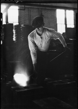 Pouring hot steel, Southern California, 1930