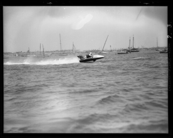 Outboard motor races, Cabrillo Beach, Los Angeles, CA, 1931