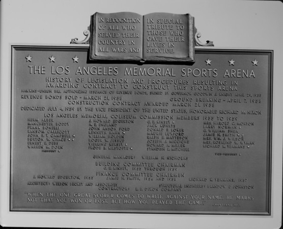 Los Angeles Memorial Sports Arena plaque, dedication, Coliseum Commission members 1955-1959