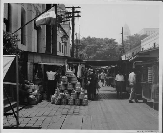 Olvera Street, shoppers, facing towards City Hall
