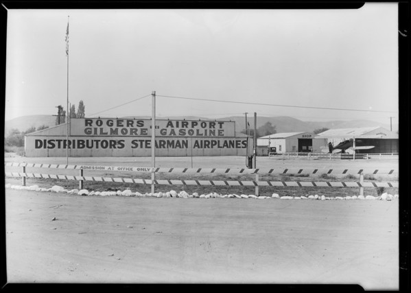 Signs at Rogers Airport on Angeles Mesa Drive, Los Angeles, CA, 1929