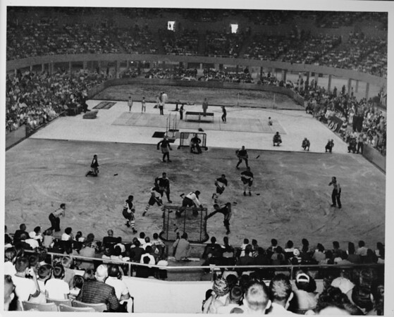 Los Angeles Memorial Sports Arena, interior view, Memorial Day dedication ceremony, hockey game demonstration