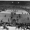 Los Angeles Memorial Sports Arena, interior view, Memorial Day dedication ceremony, hockey game demonstration