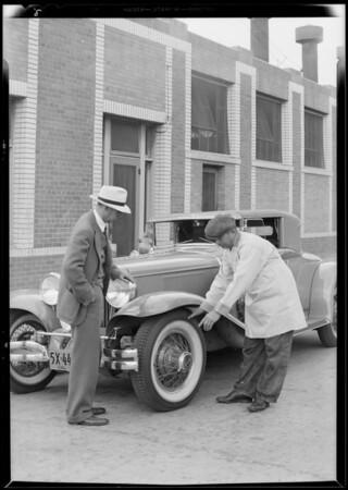 Dayton tires on Cord automobile, Southern California, 1930