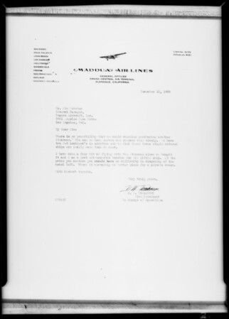 Letters, Rogers Aircraft Incorporated, Southern California, 1930