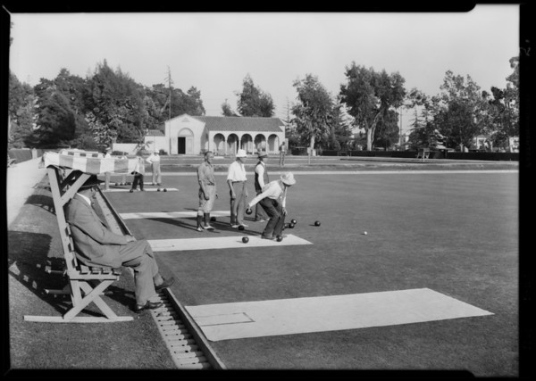 Bowling green at Exposition Park, Los Angeles, CA, 1929
