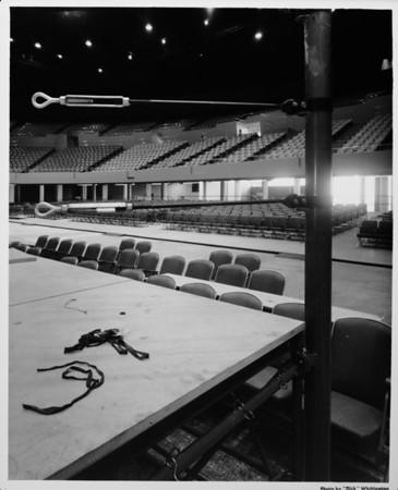 Los Angeles Memorial Sports Arena, interior view, preparation for Memorial Day dedication ceremony