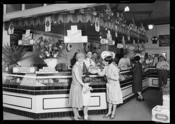 Parfay display in butcher shop, Southern California, 1930