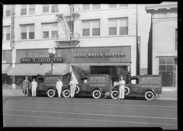 Service cars, Ruud Heater Company, Los Angeles, CA, 1930