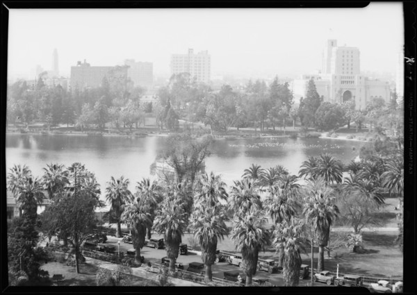 Views looking over Westlake park, Los Angeles, CA, 1931