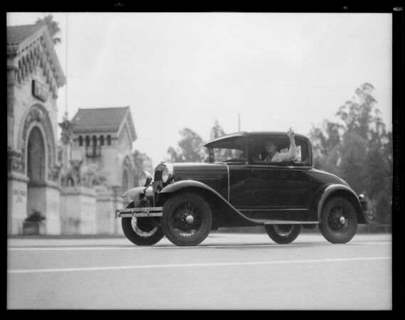 Ford coupe on San Berdue run, Southern California, 1930