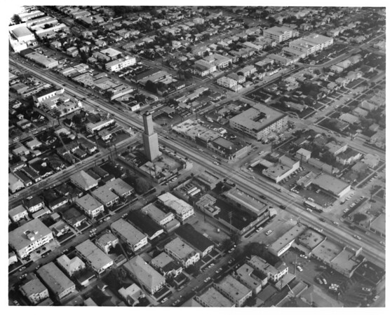 Aerial view of Los Angeles neighborhood