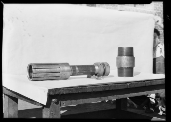 Parts of rotary drilling jar, also Pittman, Southern California, 1931
