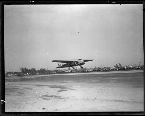 Pennzoil truck and Fokker F.32, Western Air Express, Southern California, 1930
