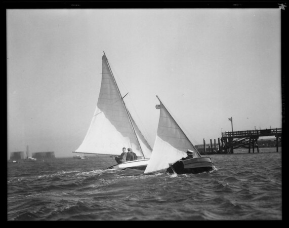Model yachts at Cabrillo Beach, Los Angeles, CA, 1930