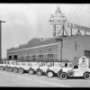 Fleet of cars at Los Angeles Saratoga Chip Co., Chambers & Pacific, Southern California, 1930