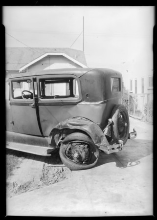 Wrecked Ford, Mrs. H.E. Sprague, Southern California, 1931
