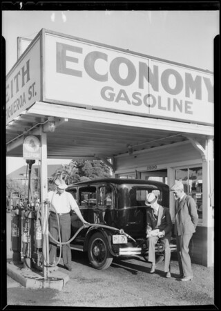 Filling Dodge with Economy gas, Southern California, 1930