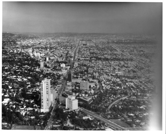 Looking east down Sunset Boulevard (Hollyway Drive and Santa Monica Boulevard) at Doheny Road