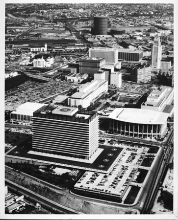 Aerial view of the Civic Center of Downtown Los Angeles