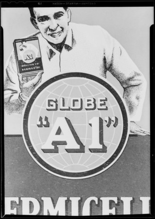 "Globe ""A 1"" for B ground, Hollywood Paper Box Co., Southern California, 1930"