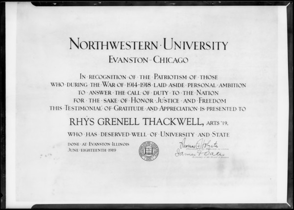 Testimonial from Northwestern University, Southern California, 1931