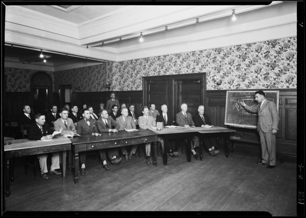 Law class taken at Wesley Terrace Hotel, 1800 West 7th Street, Los Angeles, CA, 1929