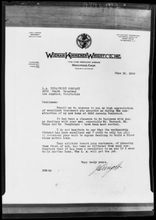 Copy of letter from J.C. Wright, Southern California, 1929