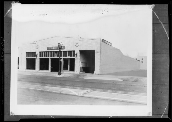 Retouched building, brick side, 717 South San Pedro Street, Los Angeles, CA, 1929