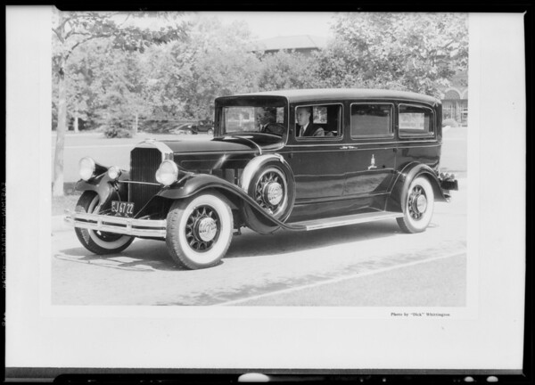 Copy of Pierce Bros. hearse for post card, Southern California, 1931