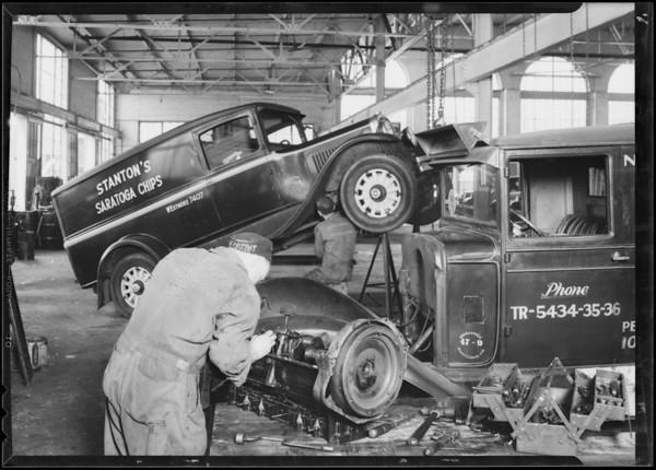 Interiors of garage, Guaranteed Maintenance Co., Southern California, 1930