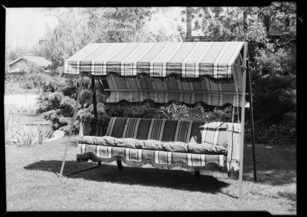 Garden furniture at Chambers residence, West 6th Street & South Windsor Boulevard, Los Angeles, CA, 1931