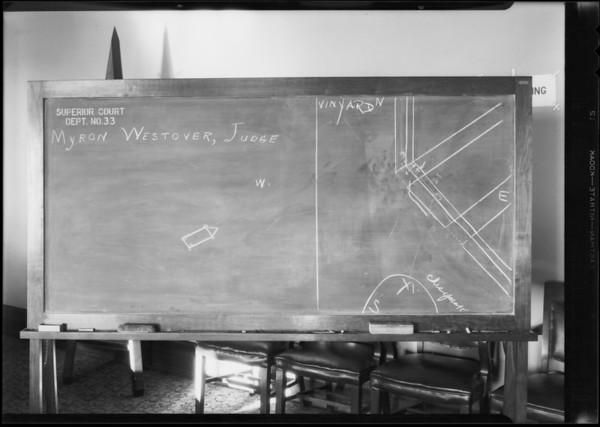 Blackboard in department 33, Judge Westover, Selger vs Chandler, Southern California, 1931