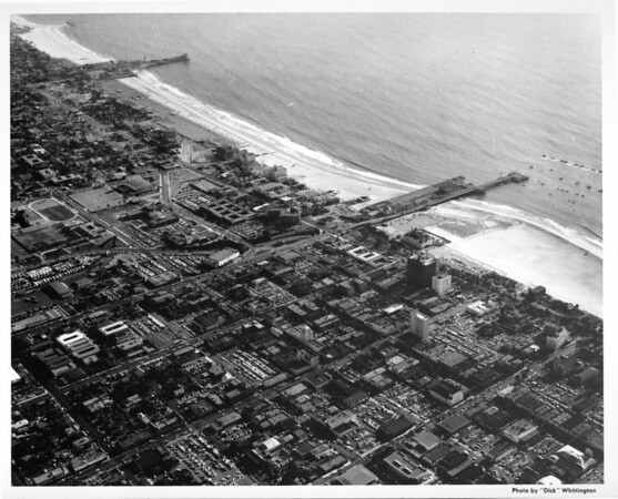 Aerial view of Santa Monica looking southwest