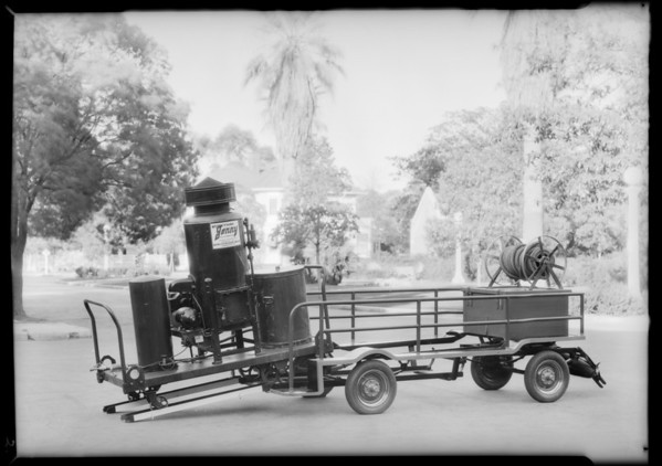 Small trailer for cleaning equipment, Auto Trailer Manufacturing Co., Southern California, 1931