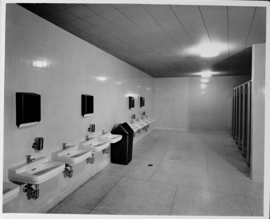 Los Angeles Memorial Sports Arena, interior view, restroom washbasins