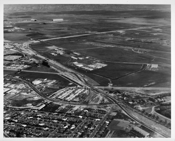 Aerial view over the junction between the Corona Del Mar Freeway (73) and the Newport Freeway (55)