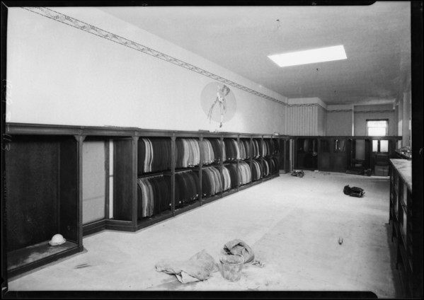 Interiors of unfinished store, Southern California, 1929