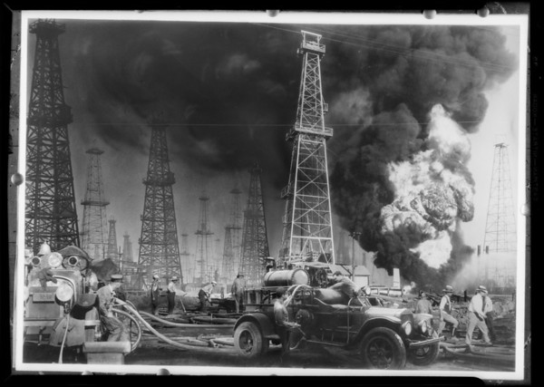Oil well fire, Southern California, 1931
