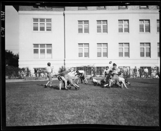 Manual Arts football practice, Los Angeles, CA, 1929