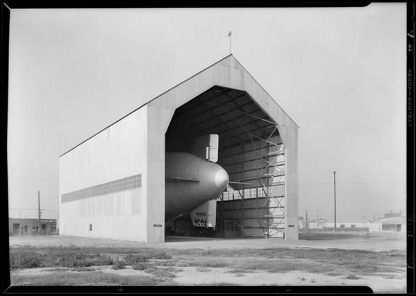 Goodyear blimp in hangar for California Constructor, Southern California, 1929