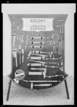 Socony lubricating tool board, Southern California, 1931