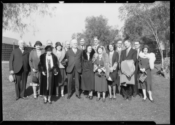 Group at breakfast club, Southern California, 1931