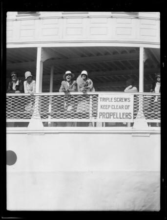 Joe and Eva leaving on boat S.S. Harvard, Southern California, 1929