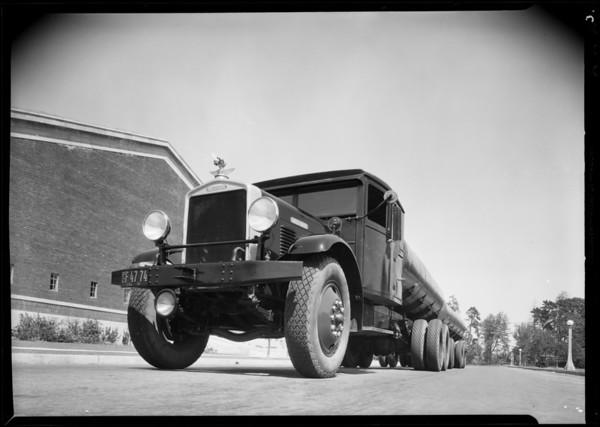 Green tank truck & trailer, Brockway Southwest Truck Co., Southern California, 1931