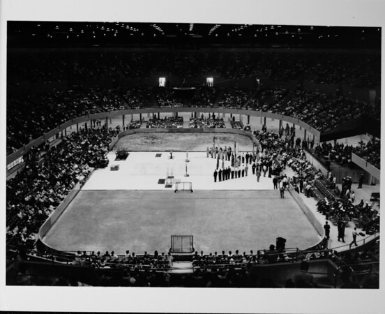 Los Angeles Memorial Sports Arena, interior view with crowd
