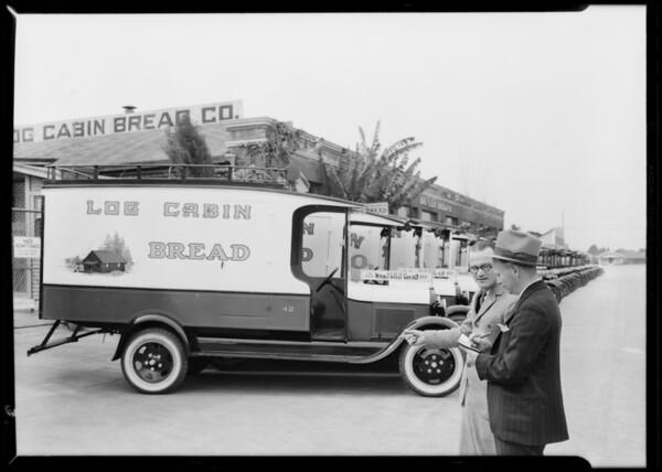 Fleet of Log Cabin Bread trucks, Southern California, 1930