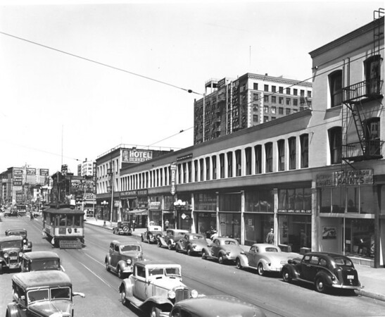 Main Street, looking north from Ninth Street, Hotel Berkeley, Hotel Cecil, Specialty Sample Case Manufacturing Corporation, 918 Main Street, Rubber Stamps